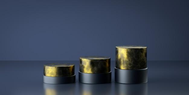 Marmo di lusso di rendering 3d con geometria del podio d'oro. podio vuoto di forma geometrica astratta