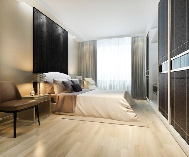 3d che rende la suite di camera da letto moderna di lusso tv con il guardaroba e la cabina armadio