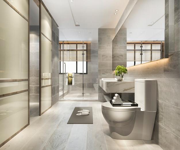 3d che rende il bagno e la toilette di lusso di progettazione moderna