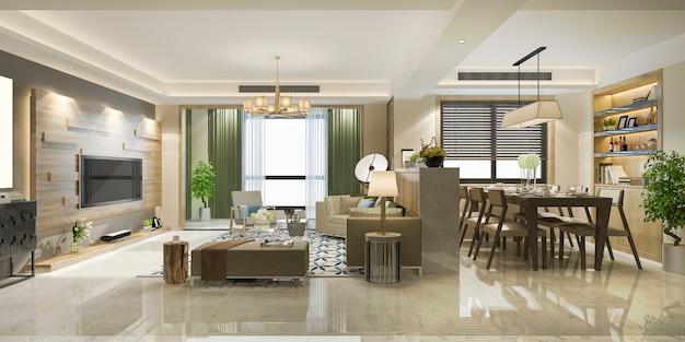 Rappresentazione 3d della sala da pranzo e del salone moderni di lusso
