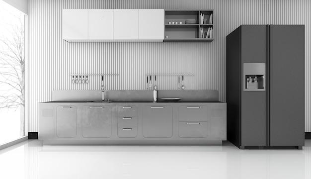 Rappresentazione 3d della cucina moderna di lusso