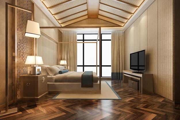 3d che rende la suite di camera da letto tropicale di lusso in resort hotel e resort