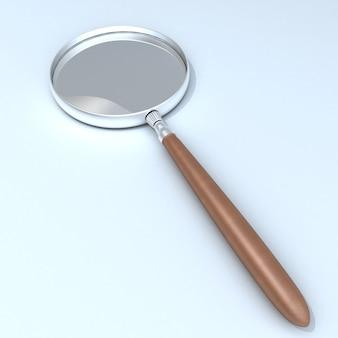 Rendering 3d di una lente d'ingrandimento con manico in legno