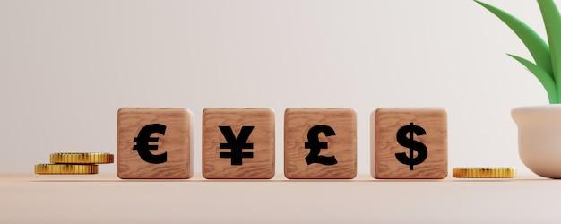 Rendering 3d per il principale cambio di valuta nel mondo su sfondo nero e spazio di copia, trading forex e concetto di investimento.