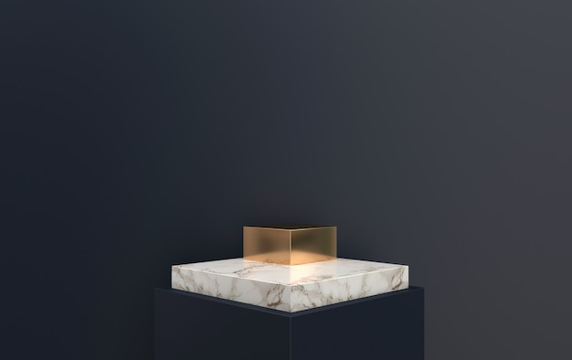 3d rendering piedistallo in marmo situato in sfondo nero, piattaforma quadrata con dettagli in oro, rendering 3d, scena con forme geometriche, sfondo astratto minimo