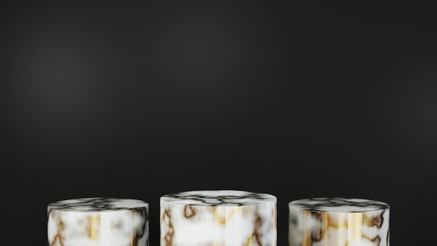 Rendering 3d del podio in marmo per la visualizzazione di tre prodotti su uno sfondo nero. mockup per prodotto da esposizione.