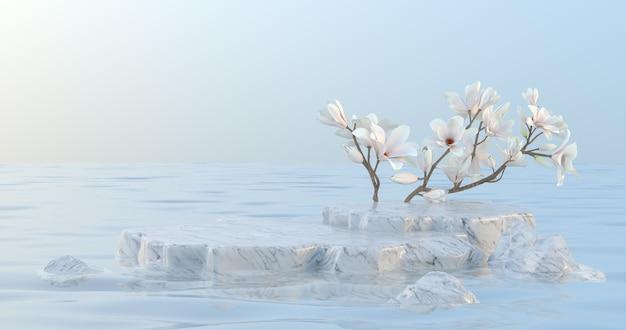Rendering 3d di podio in marmo e fiore di magnolia.