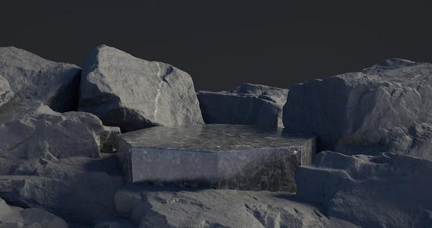 Rendering 3d di podio in marmo e sfondo di pietra