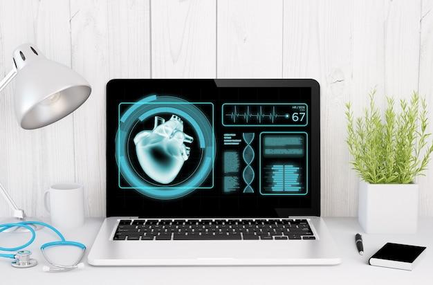Rendering 3d del desktop medico con software sanitario sullo schermo