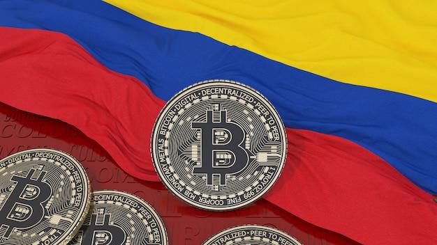 Rendering 3d di un bitcoin metallico su una bandiera colombiana