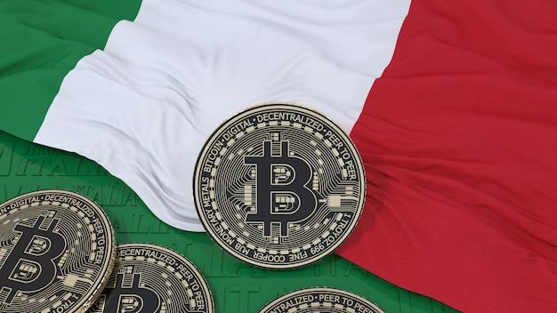 Rendering 3d di un bitcoin metallico su una bandiera italiana