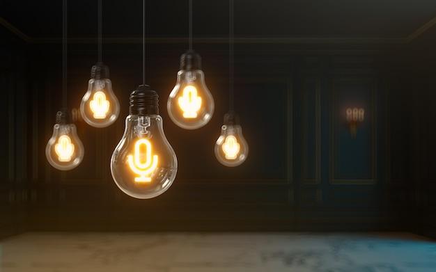 L'icona del microfono di rendering 3d si illumina all'interno della lampadina sfondo della foto di copertina premium per i social media