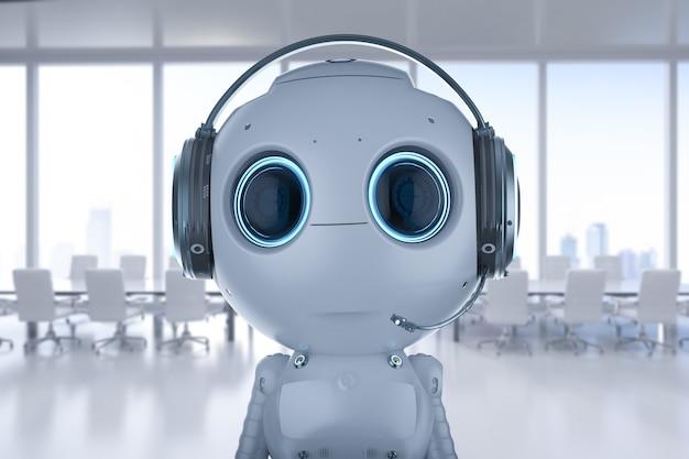 3d rendering mini robot indossa la cuffia in ufficio