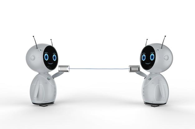 I mini robot di rendering 3d si collegano con barattoli di latta su sfondo bianco