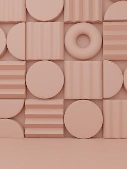 Rendering 3d minimo puzzle astratto o blocchi di puzzle sfondo di visualizzazione del prodotto per la bellezza della salute