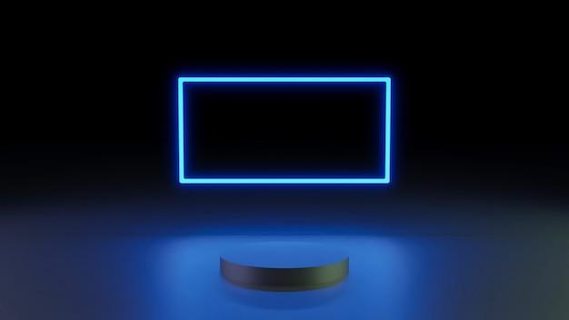 Rendering 3d sfondo minimo, scena con podio e luce al neon