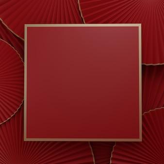 Visualizzazione del prodotto con ripresa in studio di un ventaglio di carta in stile cinese coreano o giapponese minimo di rendering 3d