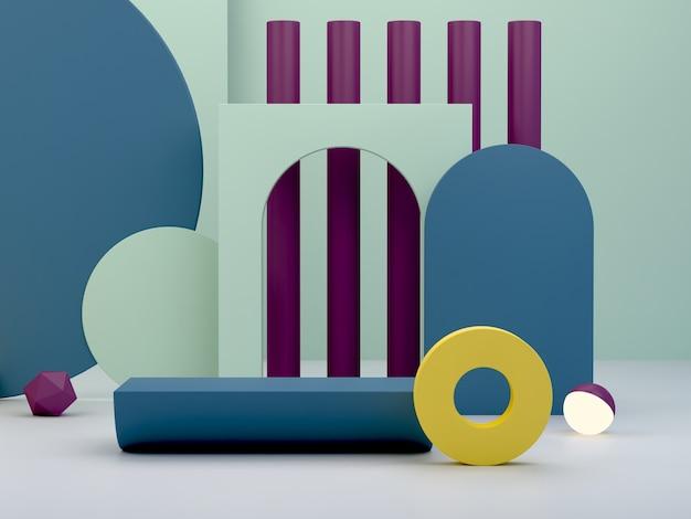 Rendering 3d. podio minimo per mostrare un prodotto. scena vuota con archi e forme geometriche. scena a colori.