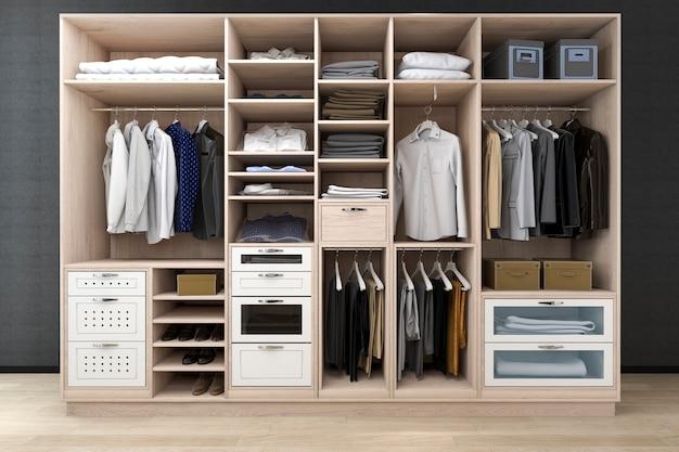 3d che minimizza la passeggiata scandinava nell'armadio con il guardaroba di legno