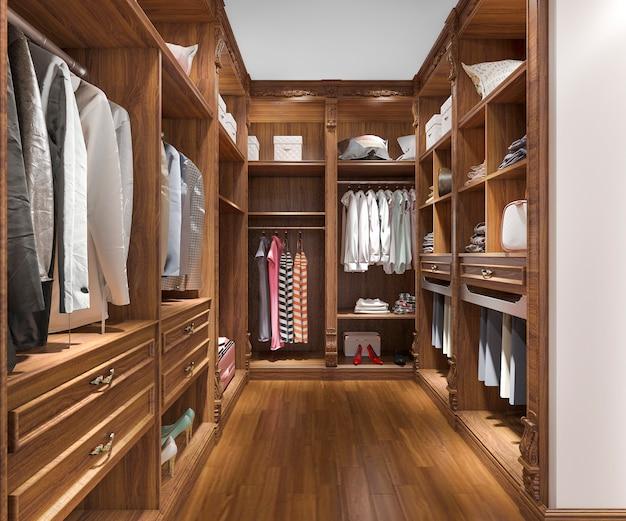 3d che rende la camminata di legno scandinava minima nell'armadio con il guardaroba Foto Premium