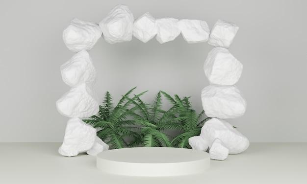 3d rendering podio minimalista con foglie di palma e cancello di pietra