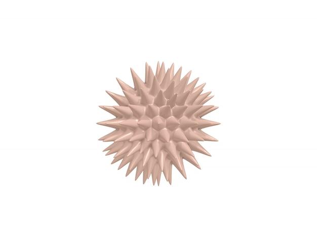 Rendering 3d virus minimalista del fumetto beige al microscopio, batterio infezione da coronavirus 2019-ncov
