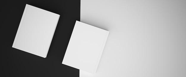 Mockup di rendering 3d, sfondo bianco e nero con libri