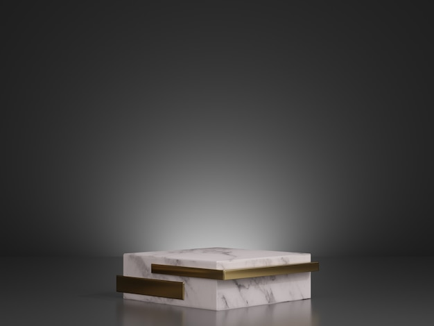 Mockup di rendering 3d di gradini piedistallo in marmo bianco e oro su sfondo scuro