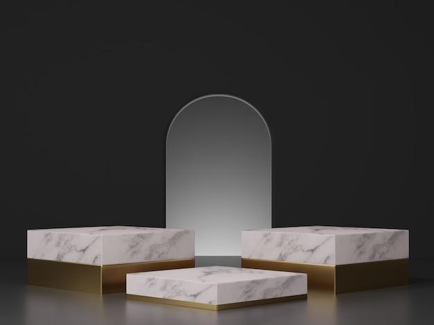 Mockup di rendering 3d di marmo bianco con gradini in oro e ingresso ad arco su sfondo scuro