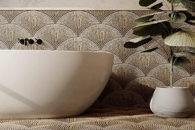 Rendering 3d. interno del bagno moderno con pareti e pavimento piastrellati.