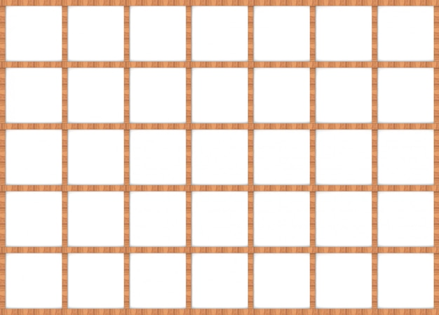 Rendering 3d. design moderno cornice quadrata in legno marrone su sfondo bianco muro.