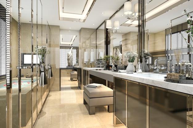 3d che rende bagno classico moderno con la decorazione di lusso delle mattonelle con la vista piacevole della natura dalla finestra