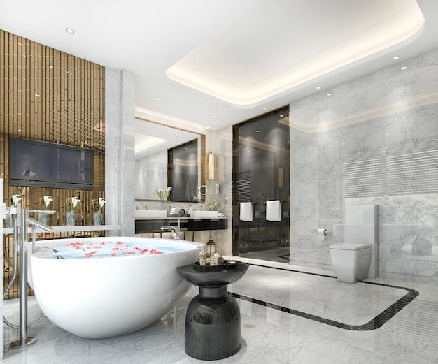 3d che rende bagno classico moderno con la decorazione di lusso delle mattonelle