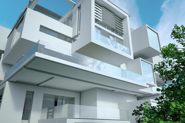 Rendering 3d di una moderna casa cubica, primo piano