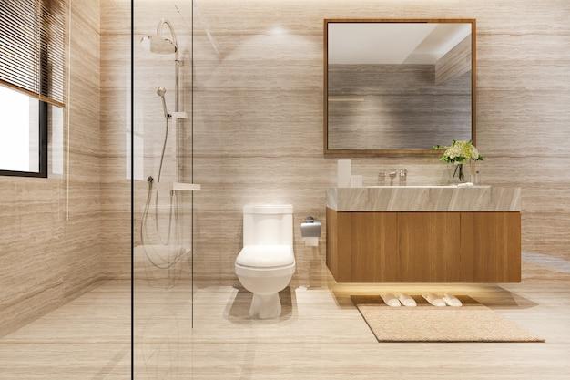 3d che rende il design moderno e la toilette e il bagno in piastrelle di marmo