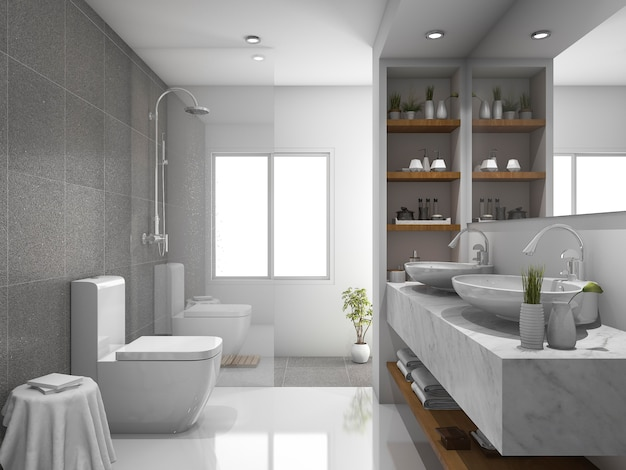 3d che rende a disegno moderno e toletta e stanza da bagno delle mattonelle di marmo