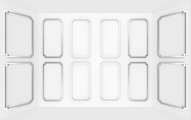 Rendering 3d. fondo della stanza d'angolo della parete di legno del modello quadrato classico grigio moderno.