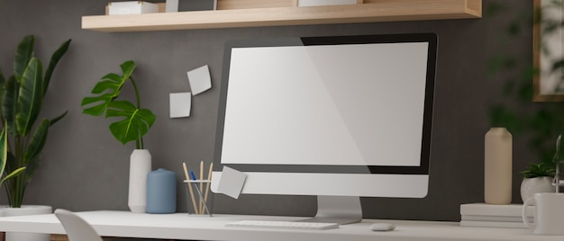 Rendering 3d scrivania moderna home office con forniture di computer e decorazioni