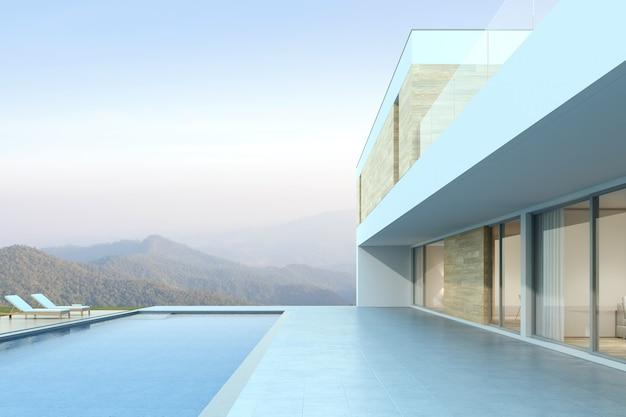 Rendering 3d di casa moderna con piscina su sfondo di montagna.