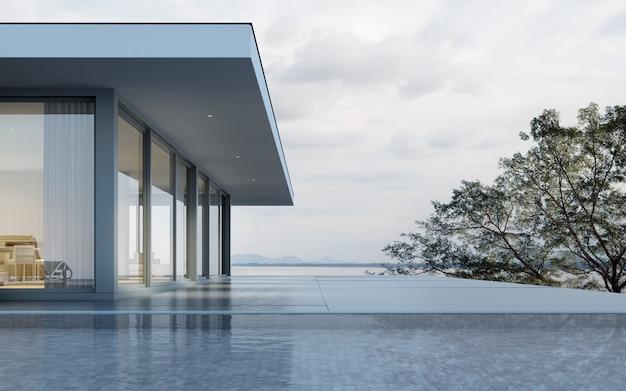 Rendering 3d di casa moderna con piscina sul fondo del mare.