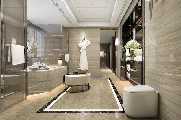 3d che rende il bagno moderno del sottotetto con la decorazione di lusso delle mattonelle con la vista piacevole dalla finestra