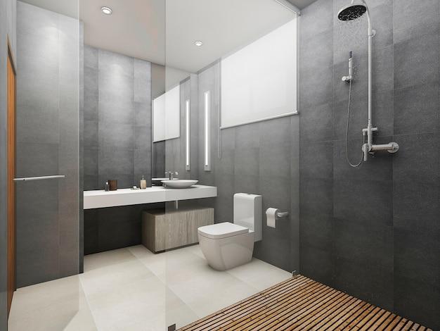 3d che rende la toilette e la doccia moderne del sottotetto con il pavimento di legno