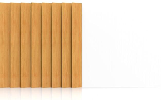 Rendering 3d. piatto di pannello di legno marrone verticale lungo moderno che decora sul fondo bianco di progettazione della parete.
