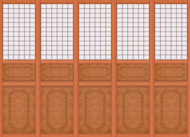 Rendering 3d. fondo di legno marrone della parete del modello orientale classico lussuoso moderno.