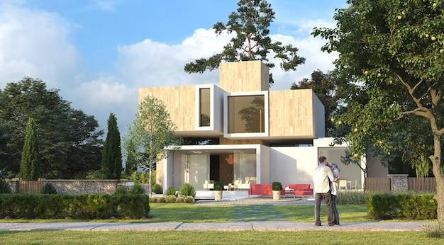 Rendering 3d di una casa e un giardino lussuosi moderni