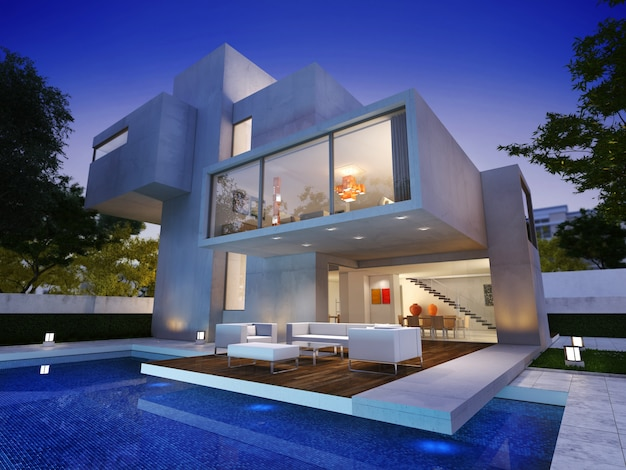 Rendering 3d di una moderna casa di lusso con piscina