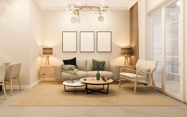 3d che rende sala da pranzo e salone minimi moderni con la decorazione di lusso