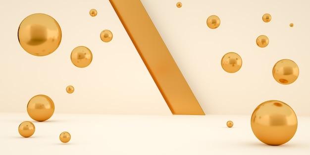 3d rendering moderna camera minimalista con sfere dorate