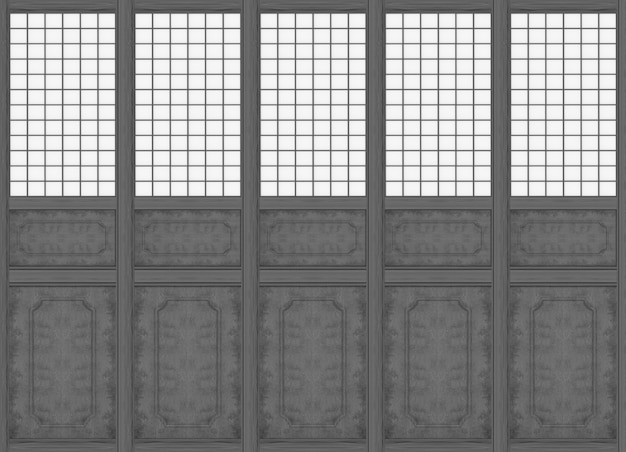 Rendering 3d. fondo della parete di legno nero del modello classico orientale moderno.
