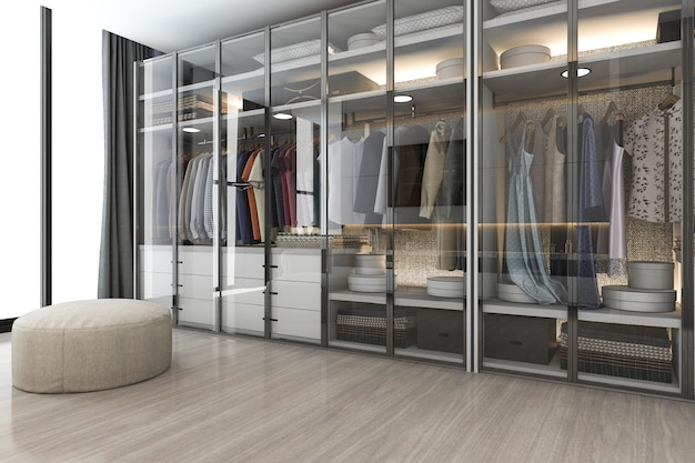 3d che rende la passeggiata di legno bianca scandinava moderna nell'armadio con il guardaroba vicino alla finestra